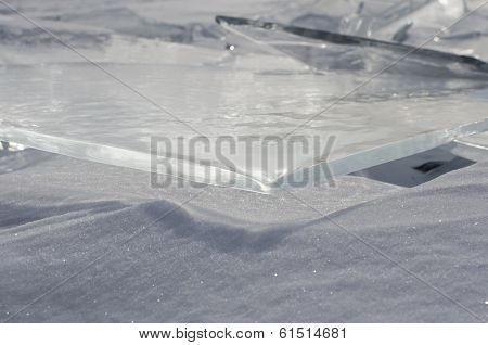Thin transparent ice floes  Hummocks on Baikal