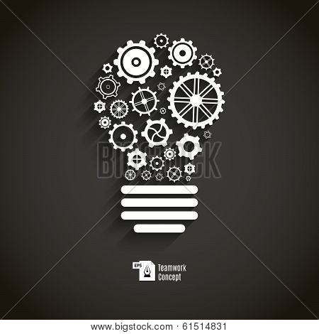 Bulb with gears and cogs.