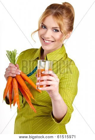 A young woman with juice of carrots