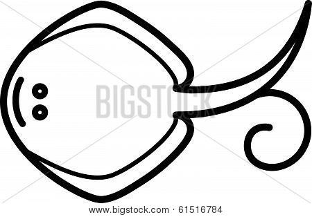 Cute animal guitarfish - illustration