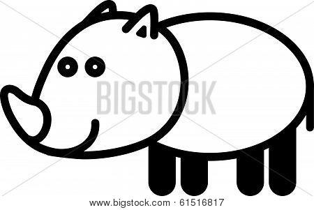 Cute animal rhinoceros - illustration
