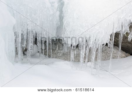 Icicles on the shore of Baikal