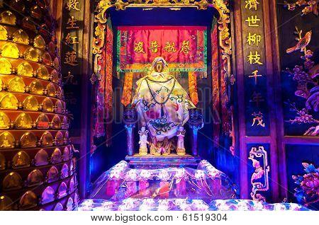 Statue Of The Goddess Of Mercy Guanyin At Lin Fa Temple, Hong Kong