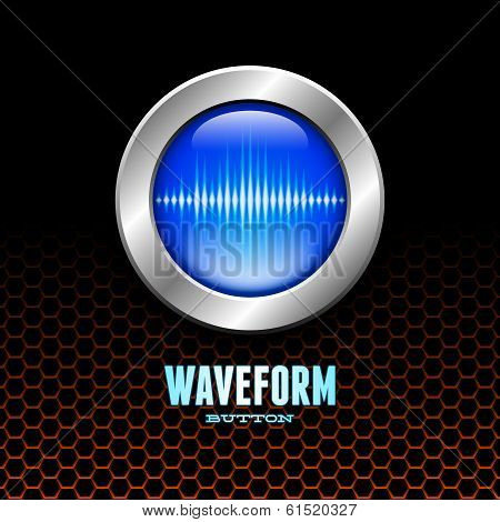 Silver button with sound wave sign