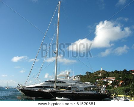 Mega yachts in Gustavia Harbor at St Barts