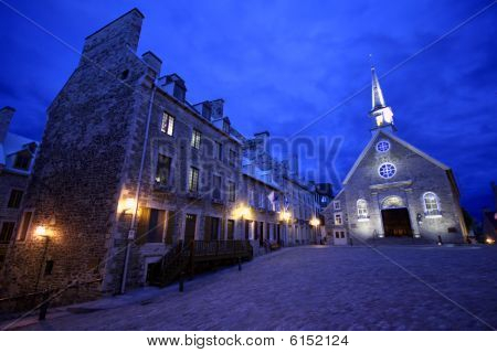 17th Century Stone Church In Old Quebec City