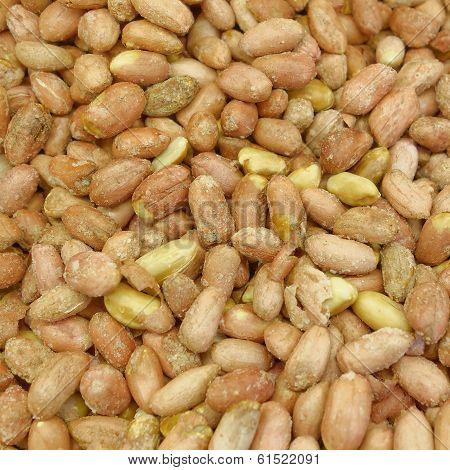salted groundnuts (peanuts) closeup