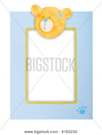 blue photo frame with teddy bear