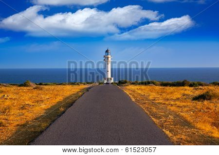 Barbaria cape Lighthouse in Formentera Mediterranean Balearic islands of Spain