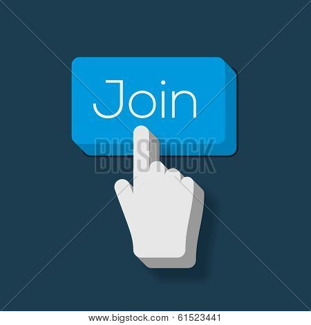 Join us Button with Hand Shaped Cursor