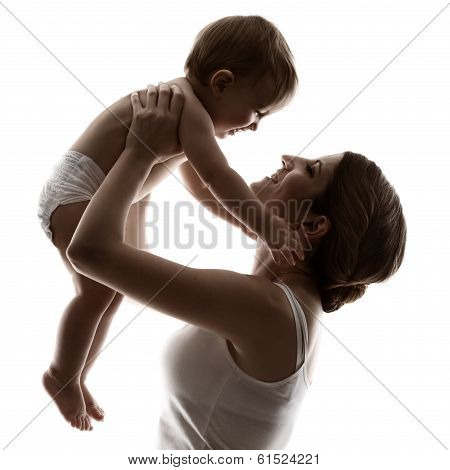 Mother And Baby, Hapy Family Raising Up Smiling Child, Isolated White Background.