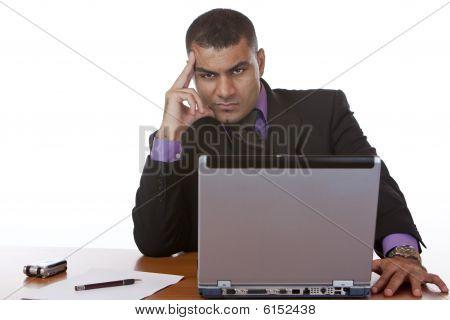 Businessman Thinks About Problem