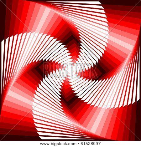 Design Colorful Vortex Movement Illusion Tetragon Geometric Background. Abstract Stripe Distorted Te