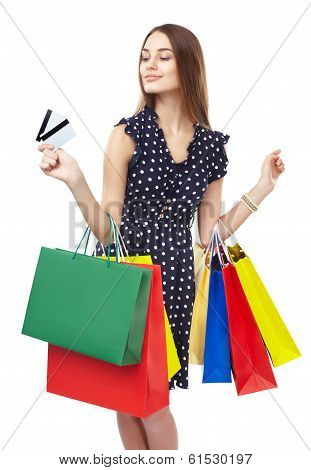 Happy Shopping Woman With Two Credit Cards