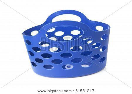 Empty Blue Shopping Bag Over White Background