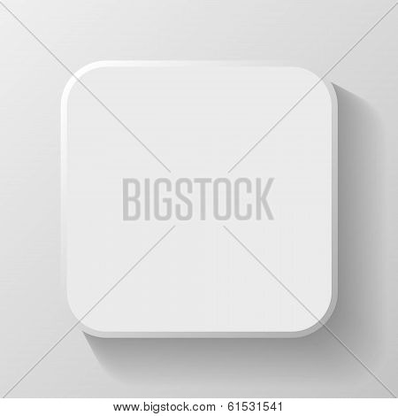 White Blank Icon Template for Web and Mobile Button with Shadow Vector illustration