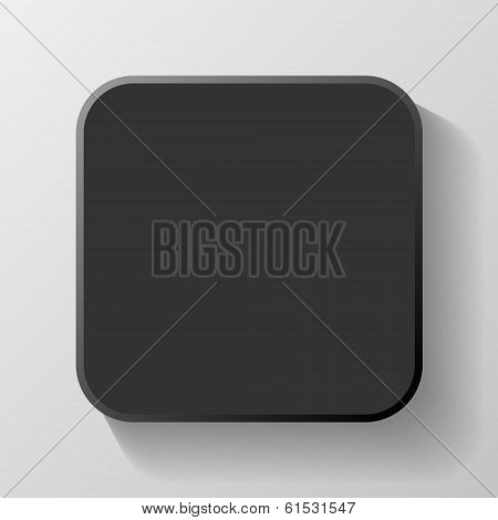 Black Blank Icon Template for Web and Mobile Button with Shadow Vector illustration