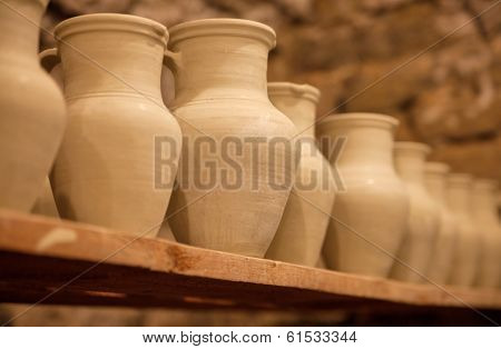 Pottery Dishes On Shelves