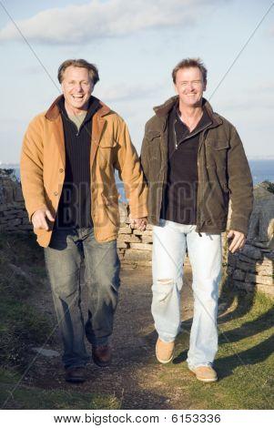 happy mature gay couple.