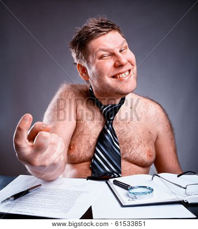Freak shirtless businessman