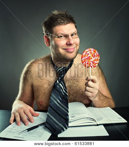 Shirtless businessman