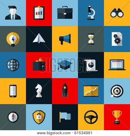 Flat Design Vector Icons Set Of Seo Website Searching Optimization And Social Media Marketing