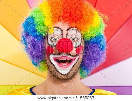 Portrait of an expressive clown