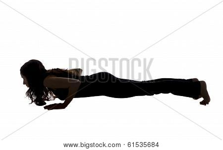 Chaturanga Dandasana Pose In Yoga, Silhouette