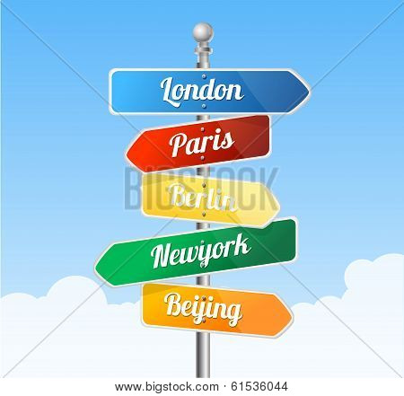 Direction road signs. Europe
