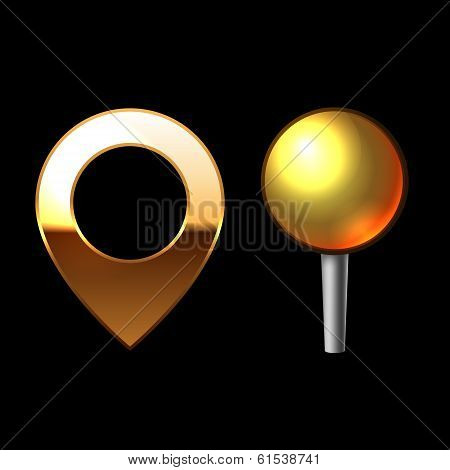 Gold Mapping Pins Set. Metal round shape with color reflection on black background. Vector
