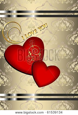 Two red hearts with on beige patterned background