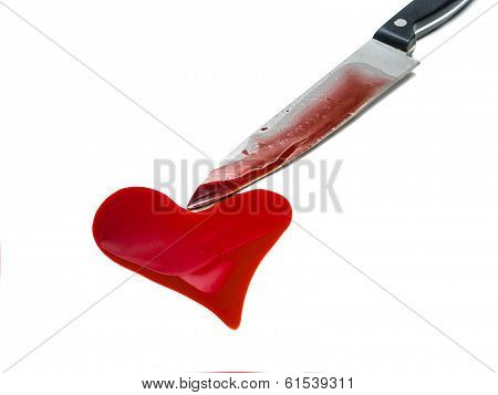 Knife And Heart Shaped Blood Spot