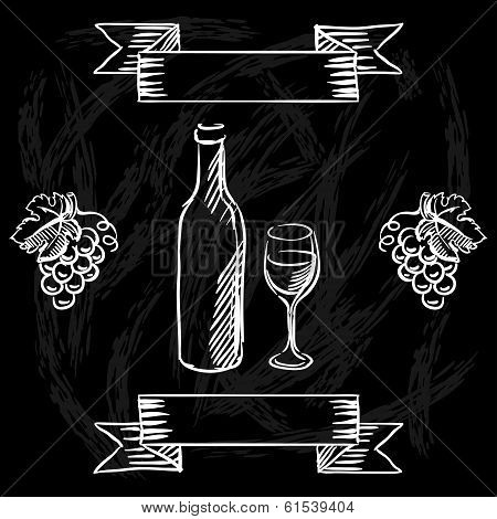 Restaurant or bar wine list on chalkboard background.