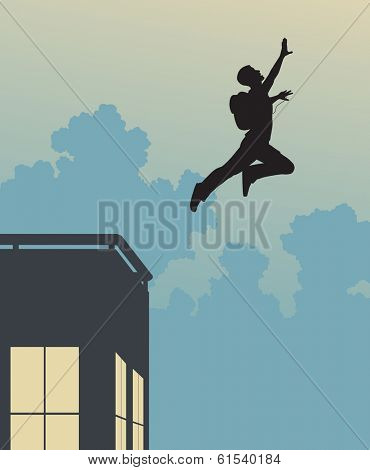 Editable vector silhouette of a base-jumper leaping off a building