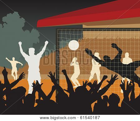 Editable vector illustration of a goal scored during a night football match