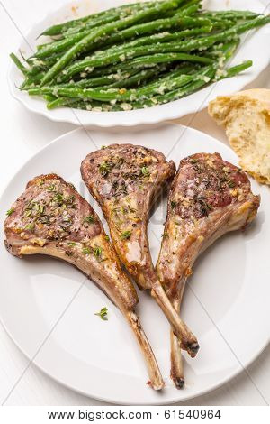 Roast Lamb Cutlets with Warm Green Beans  with  Shallots Salad and Roast Tomatoes