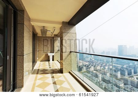 high end balcony in downtown of  modern city
