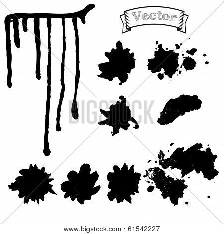 Set Blots And Smudges Of Paint Vector