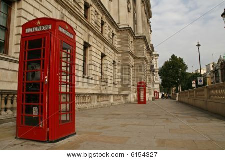 Red phone booths near Whitehall in London