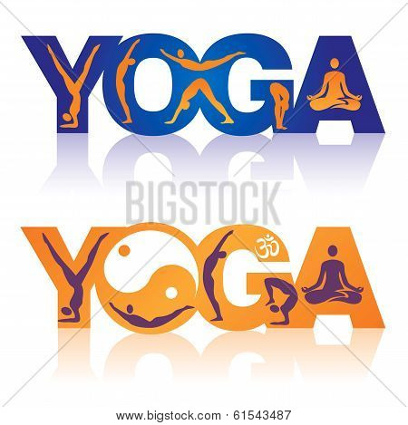 Word Yoga with Yoga positions icons