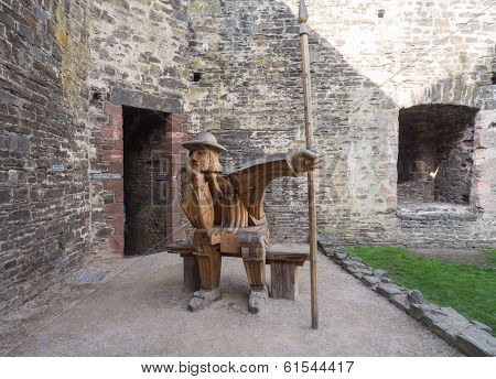 Wooden soldier at Conwy Castle, Wales