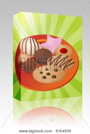 Assorted Cookies On Plate Box Package