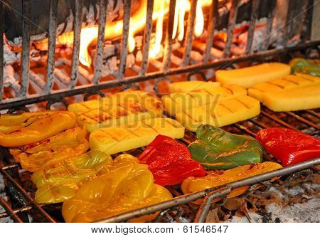 Ripe Tasty Yellow And Red Peppers Grilled