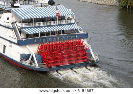 Old Fashioned Paddleboat In A River