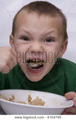 Boy Eating Oatmeal