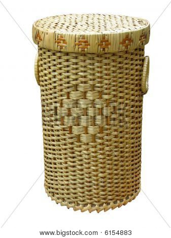 Wickerwork Wood Basket Isolated Over White