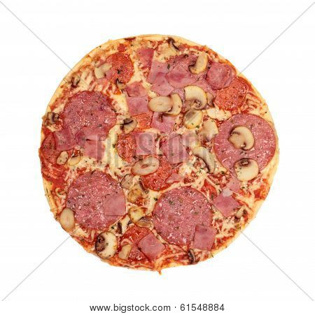 Pizza With Sausage, Ham And Mushrooms