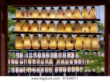 Oil Painting Stylized Photo Of Japanese Lanterns, Hanging At A Shinto Shrine, Kyoto