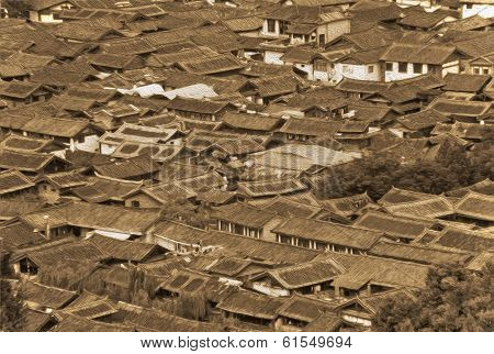 Oil Painting Stylized Photo Of Roofs Of Ancient Houses In Old Lijiang, China, Yunnan