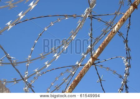Close Up Of Rusted Razor Security Fence Against Blue Sky